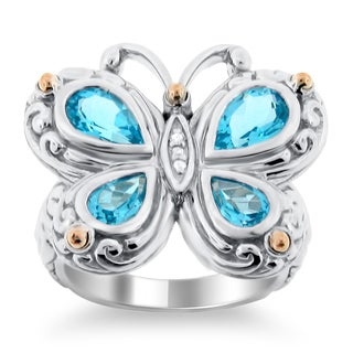 Meredith Leigh Sterling Silver and 14k Yellow Gold Blue Topaz Butterfly Ring