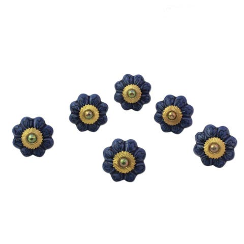 Handmade Flower Harmony in Blue Cermaic Cabinet Knob, Set of 6 (India)