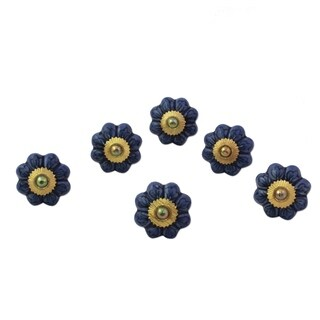Set of 6 Handcrafted Ceramic 'Flower Harmony in Blue' Cabinet Knobs (India)