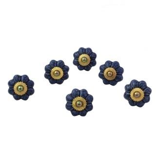 Handmade Set of 6 Ceramic 'Flower Harmony in Blue' Cabinet Knobs (India)