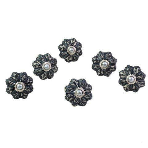 Handmade Flower Harmony Ceramic Cabinet Knobs, Set of 6 (India)