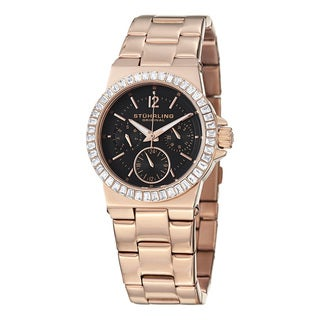 Stuhrling Orignal Women's Qaurtz Sworvoski Crystal Angelic Watch with Rose Tone Link Bracelet