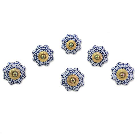 Handmade Set of 6 Ceramic 'Radiant Blue Flowers' Cabinet Knobs (India)