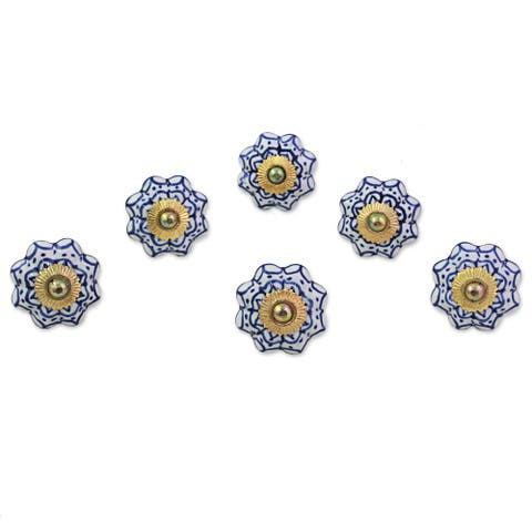 Handmade Ceramic Radiant Blue Flowers Cabinet Knobs Set of 6 (India)