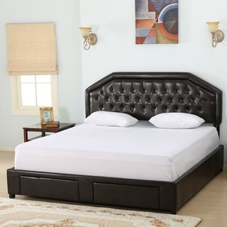 Christopher Knight Home Linden Bonded Leather King Bed Set with Drawers