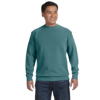 Garment-Dyed Fleece Men's Crew-Neck Blue Spruce Sweater