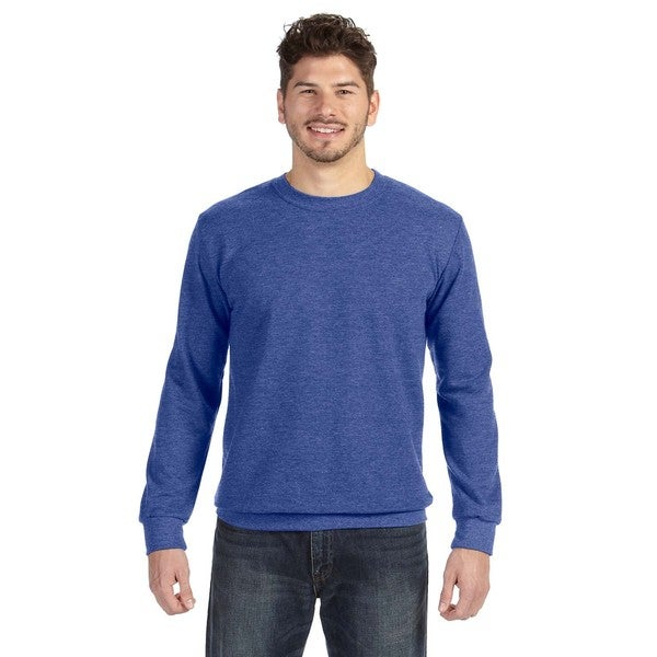 Adult Crew-Neck Men's French Terry Heather Blue Sweater - Free ...