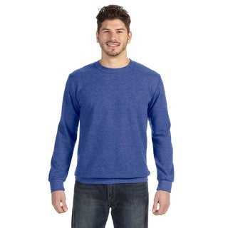 Adult Crew-Neck Men's French Terry Heather Blue Sweater