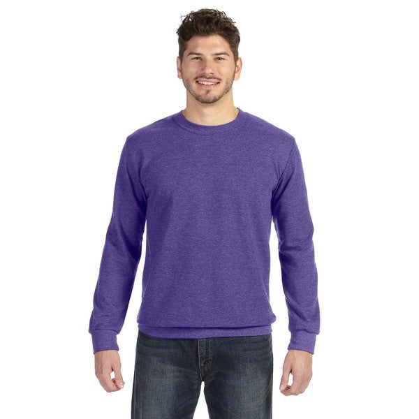 Adult Crew-Neck Men's French Terry Heather Purple Sweater - Free ...