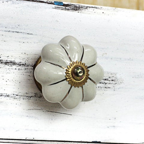 Handmade Set of 6 Ceramic 'Pale Floral Beauties' Cabinet Knobs (India)