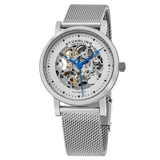 Stuhrling Original Women's Automatic Skeleton Casatorra Stainless Steel Mesh Bracelet Watch