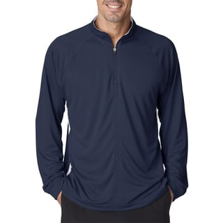 Cool and Dry Sport Quarter Zip Men's Pullover With Side Panels Navy/White Sweater(L)