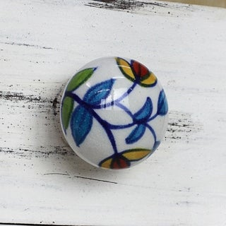 Set of 6 Ceramic 'Vibrant Beauty' Cabinet Knobs (India)