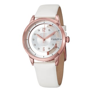Stuhrling Orignal Women's Quartz Winchester Skeletion Swarovski Element Crystal White Satin Leather Strap Wa