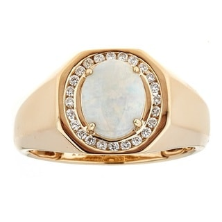 Anika and August 14K Yellow Gold Australian Opal and Diamond Ring