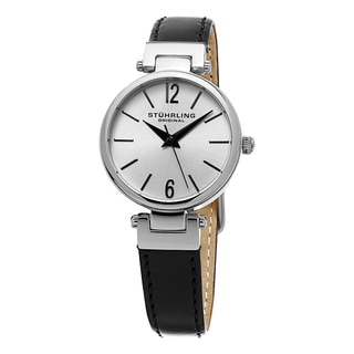 Stuhrling Orignal Women's Quartz Classique Black Leather Strap Watch