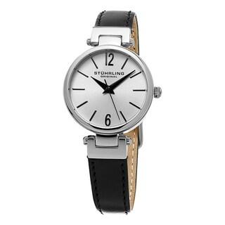 Stuhrling Original Women's Quartz Classique Black Leather Strap Watch