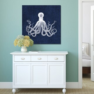 Portfolio Canvas Decor Stacey Powell Octopus on Navy Linen Stretched and Wrapped Canvas Print Wall Decor