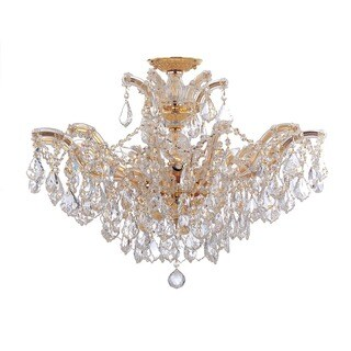 Crystorama Maria Theresa Collection 6-light Gold/Swarovski Strass Crystal Semi-Flush Mount
