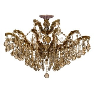 Crystorama Maria Theresa Collection 6-light Antique Brass/Golden Teak Crystal Semi-Flush Mount
