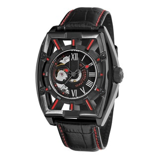 Stuhrling Orignal Men's Automatic Skeletion Millennia Expo Black Leather Strap Watch