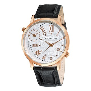 Stuhrling Orignal Men's Swiss Quartz Polaris Dual Time Zone Black Leather Strap Watch