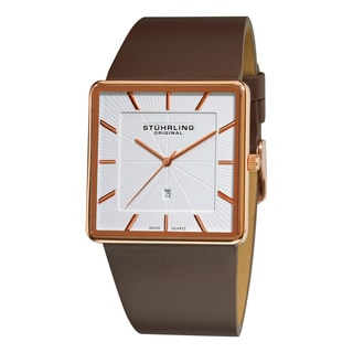 Stuhrling Original Men's Swiss Quartz Saratoga Brown Leather Strap Watch
