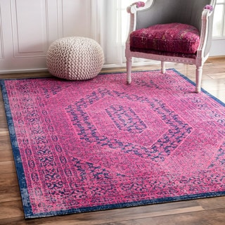 nuLOOM Vintage Persian Distressed Pink Runner Rug (2'8 x 8')