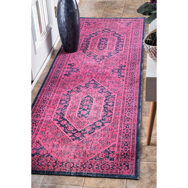 Shop Nuloom Vintage Persian Distressed Pink Runner Rug 2
