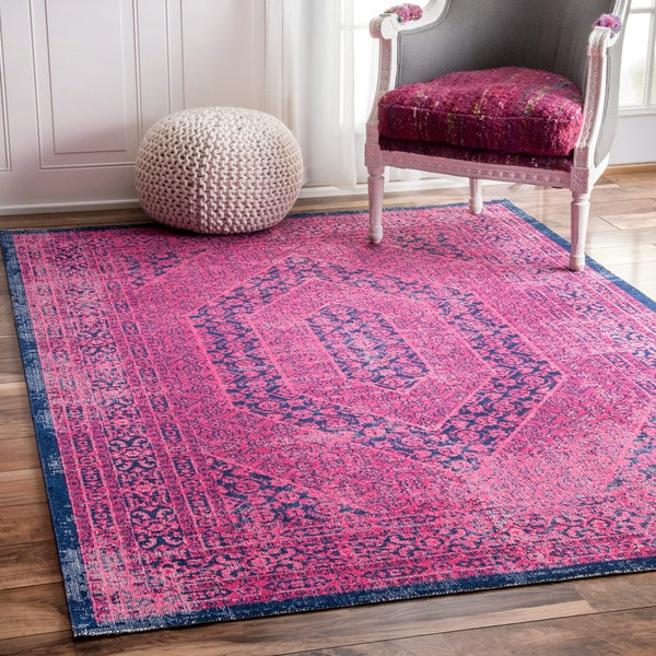 Shop Nuloom Vintage Persian Distressed Pink Rug 4 X 6