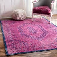 nuLOOM Vintage Persian Distressed Pink Rug - 5' x 7'5