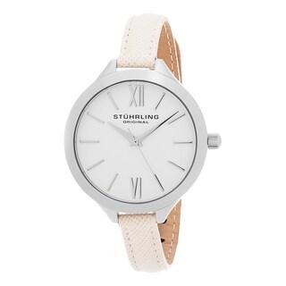 Stuhrling Original Women's Quartz Vogue Champage Leather Strap Watch