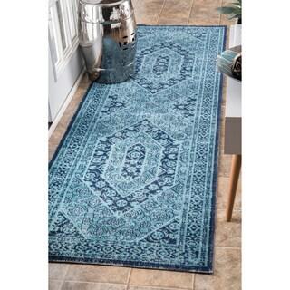 nuLOOM Vintage Persian Distressed Blue Runner Rug (2'8 x 8')