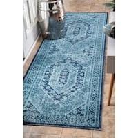 nuLOOM Vintage Persian Distressed Blue Runner Rug (2'8 x 8') - 2' 8 x 8'