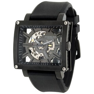 Stuhrling Orignal Automatic Skeletion Axis Black Rubber Strap Watch