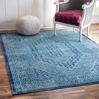 nuLOOM Vintage Persian Distressed Blue Rug (4' x 6')