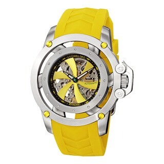 Stuhrling Orignal Men's Automatic Skeletion Impulse XT Yellow Rubber Strap Watch