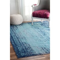 "nuLOOM Vintage Persian Distressed Blue Runner Rug (2'8 x 8') - 2'8"" x 8' runner"