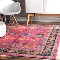 nuLOOM Pink Vintage Persian Distressed Floral Area Rug