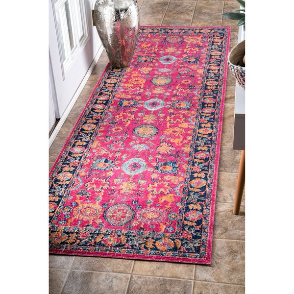 Shop NuLOOM Vintage Persian Distressed Floral Pink Runner
