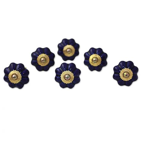 Handmade Floral Beauties Ceramic Cabinet Knobs, Set of 6 (India)