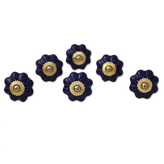 Set of 6 Handcrafted Ceramic 'Floral Beauties in Indigo' Cabinet Knobs (India)