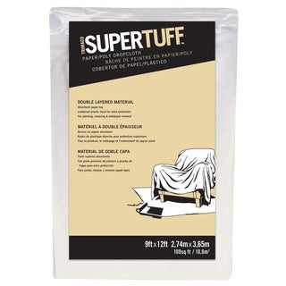 Trimaco 02301 9' X 12' SuperTuff Paper & Poly Drop Cloth