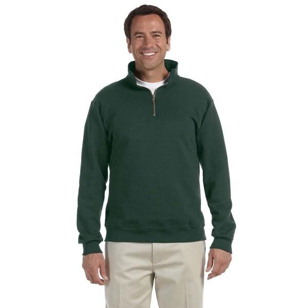 50/50 Super Sweats Nublend Fleece Quarter-Zip Mens Pullover Forest Green Sweater