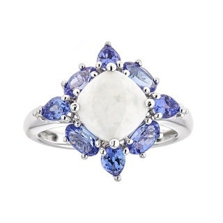 Anika and August 14K White Gold Australian Opal, Tanzanite and Diamond Ring
