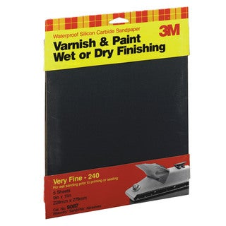 "3M 9087NA 9"" X 11"" Very Fine Wetordry Varnish, Paint Sandpaper"