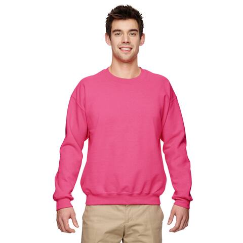 50/50 Fleece Men's Crew-Neck Safety Pink Sweater