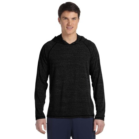 Performance Triblend Long-Sleeve Hooded Men's Pullover Charcoal Heather Triblend Sweater