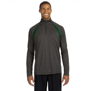 Quarter-Zip Men's Lightweight Pullover With Insets Dark Grey Heather/Sport Fr Sweater
