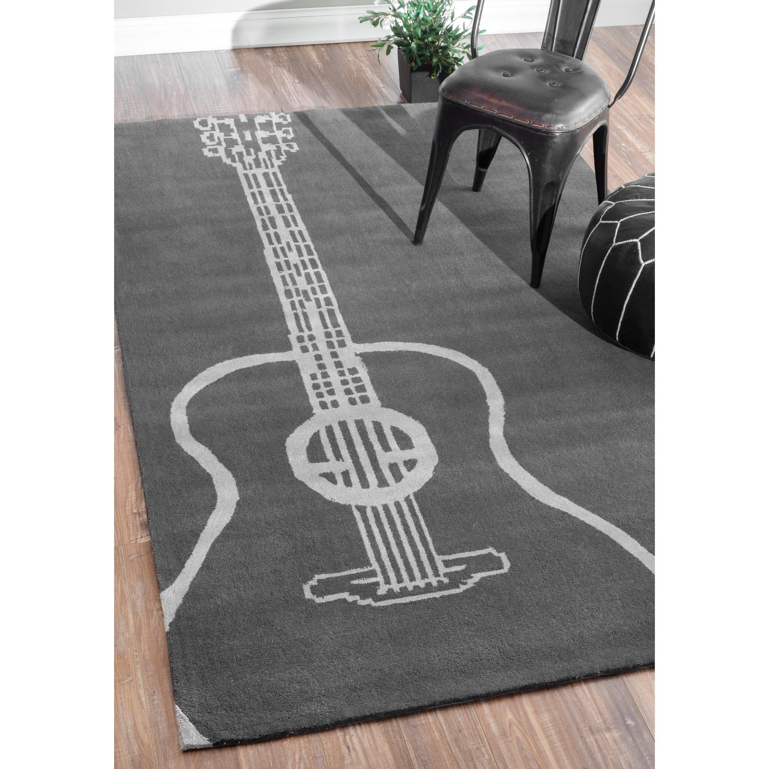 nuLOOM Handmade Luna Guitar Grey Rug (4' x 6') (Grey), Si...